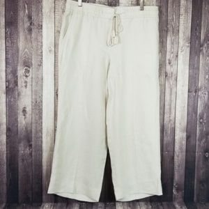 Ann Taylor Loft cream color linen wide leg pants